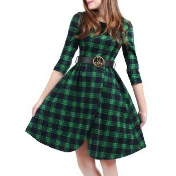 Dress Rumbai Fk 52b Green vintage plaid knee length pin up dress green s in vintage dresses dresslily