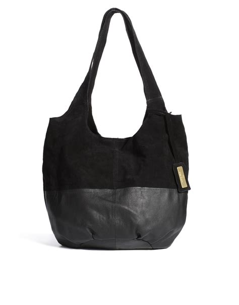 Slouch Bag Hat lyst river island leather suede simple slouch bag in black