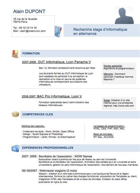 Modèle De Cv Professionnel Gratuit by Les 25 Meilleures Id 233 Es De La Cat 233 Gorie Modele Cv Etudiant