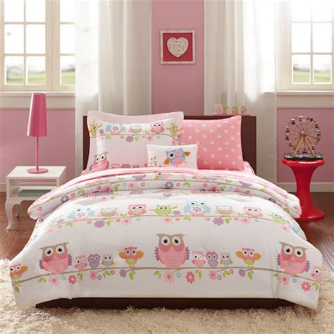 bed pillow sets pink owl bedding or comforter set bed in a bag
