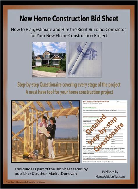 here is a new home construction bid sheet for helping soon