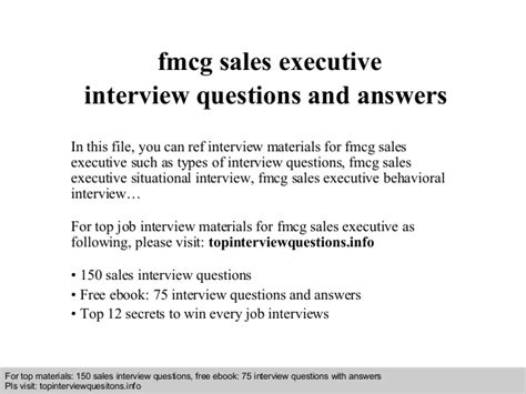 fmcg sales executive questions and answers