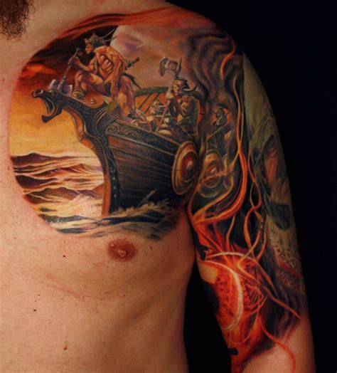tattoo color history 55 stylish viking shoulder tattoos