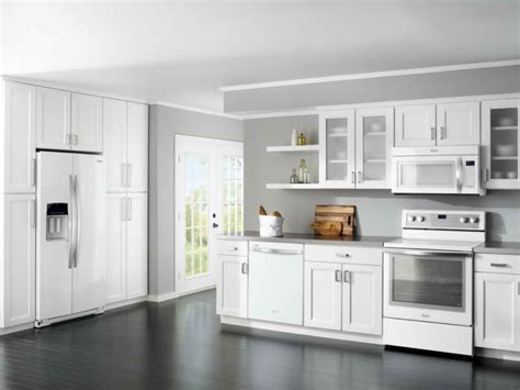 best white kitchen cabinet color schemes for wood floors with gray wall paint ideas