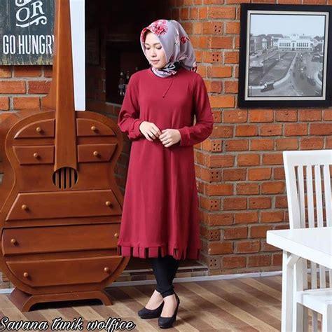 Jual Murah Baju Atasan Leoni Tunik jual baju atasan muslim terbaru savana tunik maroon