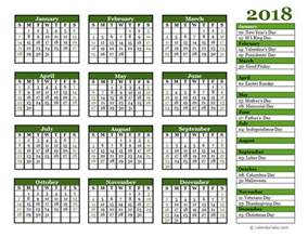 Calendar 2018 Pdf India Editable 2018 Yearly Calendar Landscape Free Printable
