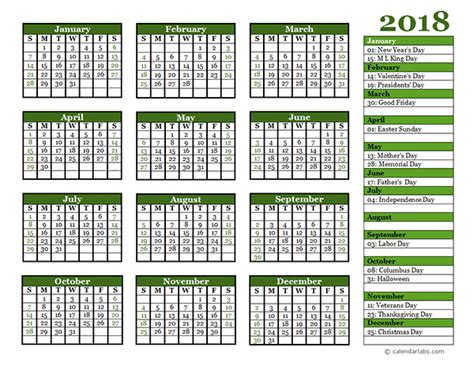 2018 calendar template pdf indian editable 2018 yearly calendar landscape free printable