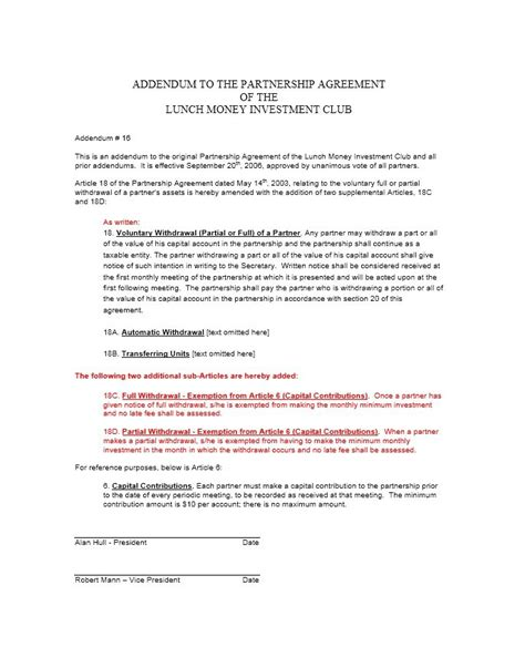 partner agreement template 40 free partnership agreement templates business