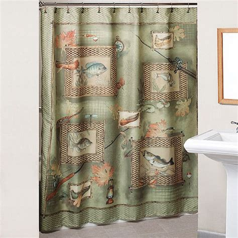 Fish Themed Bathroom Accessories Fishing Theme Shower Curtain For Guest Bath Cabin Fishing Shower Curtains And
