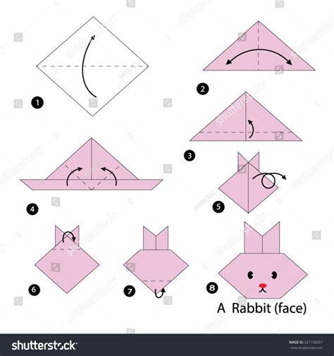 How To Make A Origami Rabbit - step by step how make stock vector 321158357