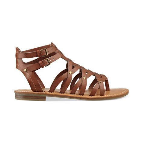 gladiator womens sandals g by guess womens harlaa gladiator flat sandals in brown
