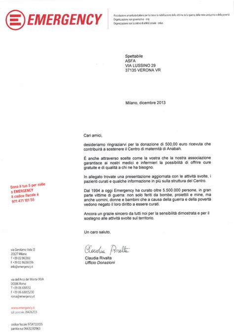 lettere di ringraziamento per donazioni notizie dalle sezioni asfa verona