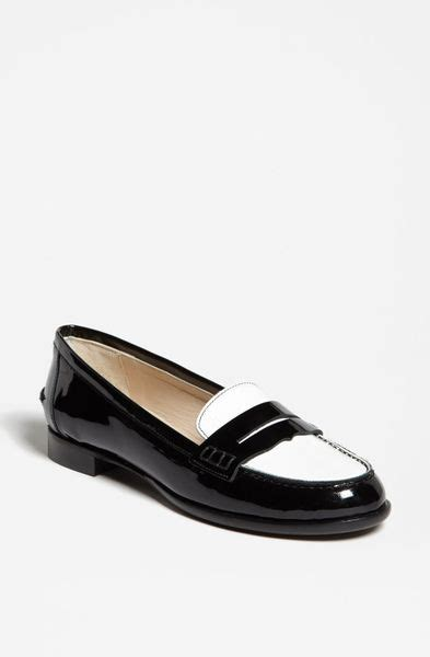 black and white loafer lk flats shop s flats lyst