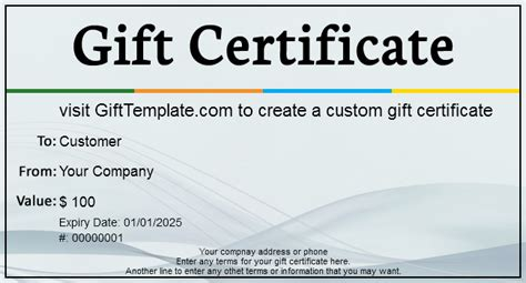 Gift Certificate Templates   Free gift certificate