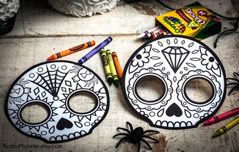 printable masks for day of the dead halloween printable coloring mask for kids cute skull day