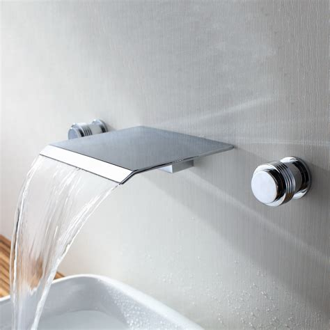 Wall Mounted Bathtub Fixtures by Sumerain S1111cw Modern Wall Mount Bathroom Waterfall Widespread Sink Faucet At Atg Stores