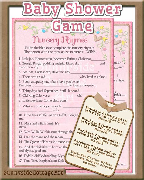 Nursery Rhymes Baby Shower by Nursery Rhyme Baby Shower Printable By