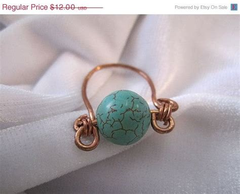 Handmade Rings For Sale - sale copper wire ring with teal bead handmade