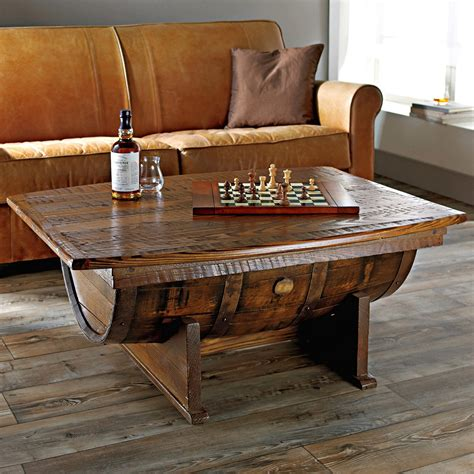 handmade vintage oak whiskey barrel coffee table the