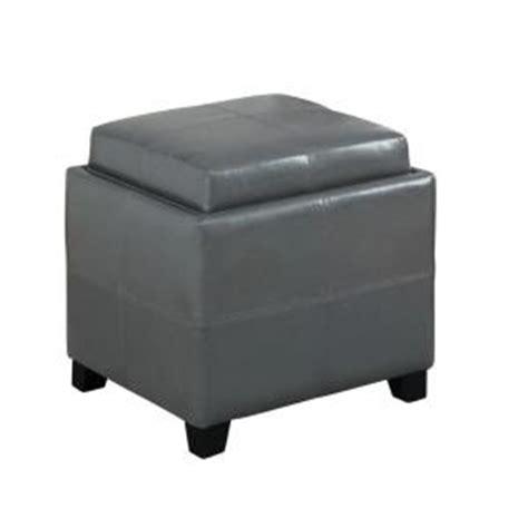grey leather storage ottoman worldwide homefurnishings faux leather storage ottoman in