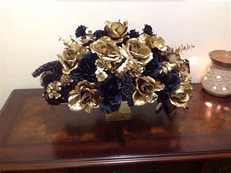 Gold and black silk flower arrangement   Silk flower