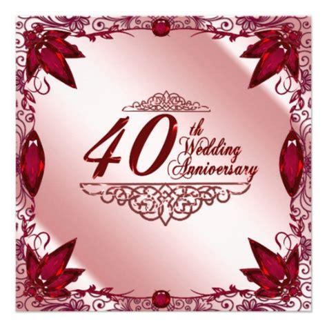 40th Wedding Anniversary by 40th Wedding Anniversary Invitation 13 Cm X 13 Cm Square