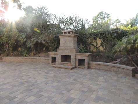 Paver Fireplace by Outdoor Fireplace San Diego Backyard Gas Fireplaces San