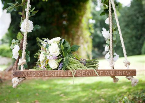 wedding swing solid oak swing hand carved with quote or personal message