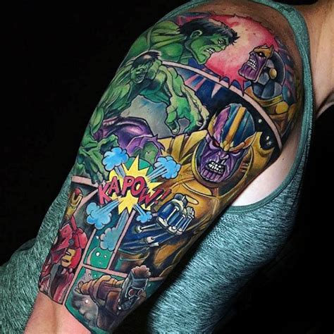marvel sleeve tattoo 60 marvel tattoos for comic design ideas