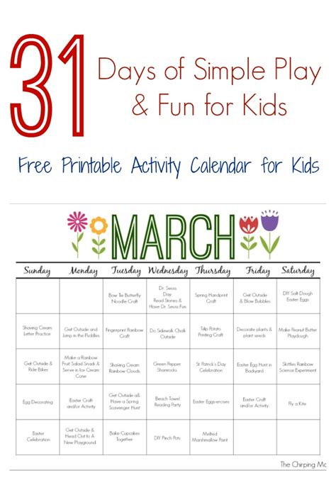 printable calendar activities march printable activity calendar for kids the chirping moms