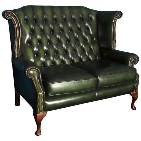 antique 2 seater sofa two seat leather wingback chesterfield sofa antique green