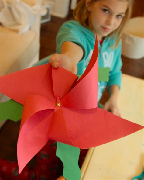 Poinsettia Paper Craft - paper crafts poinsettia pinwhell crafts