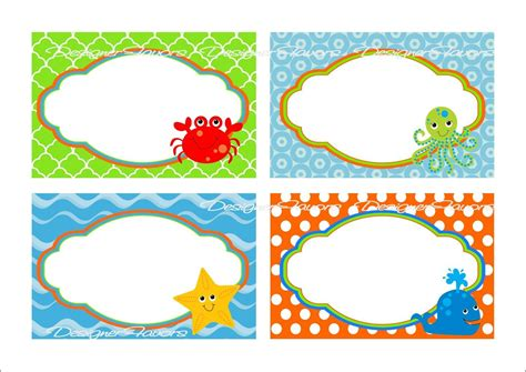 printable under the sea name tags under the sea food labels free printable tags imagestack