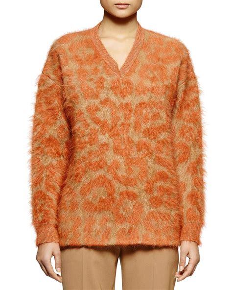 brown pattern sweater stella mccartney leopard pattern mohair blend sweater in