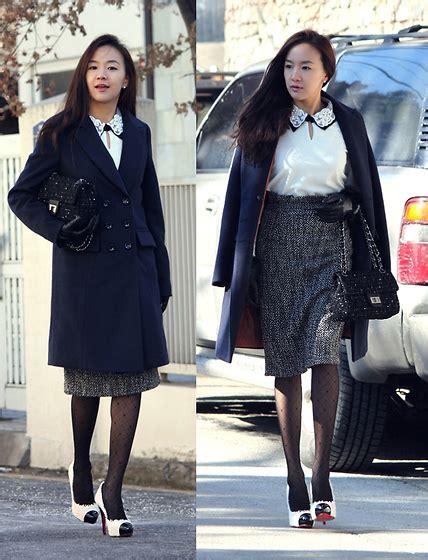 Becky Korean Bag becky baek navy coat pearl collar t shirt tweed