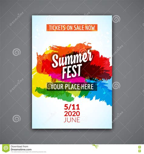 Vorlage Word Plakat Summer Festival Flyer Design Template Summer Poster Flyer Template Colorful Design Stock Vector