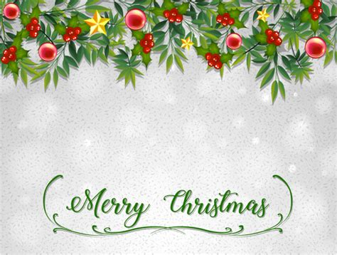 merry christmas card template  mistletoes vector