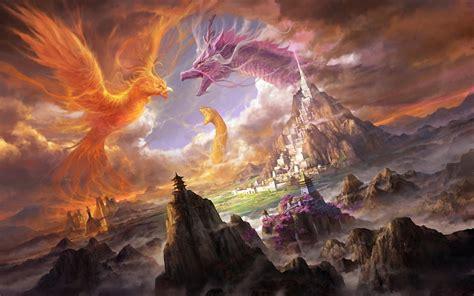 fantasy art phoenix dragon wallpapers hd desktop