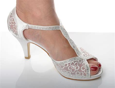 satin white lace diamante wedding heel bridal peeptoe