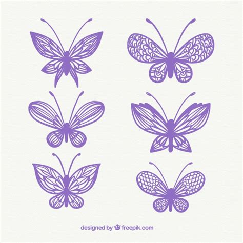 Decorative Butterflies by Several Decorative Butterflies Vector Free
