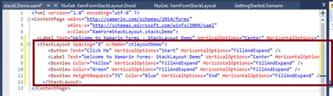 stack layout xamarin forms stacklayout in xamarin forms application for android and