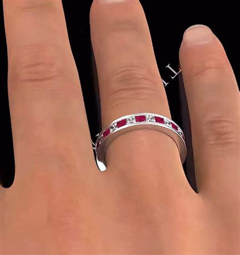 Ruby 18 25ct eternity ring diamonds h si and ruby 2 25ct 18k