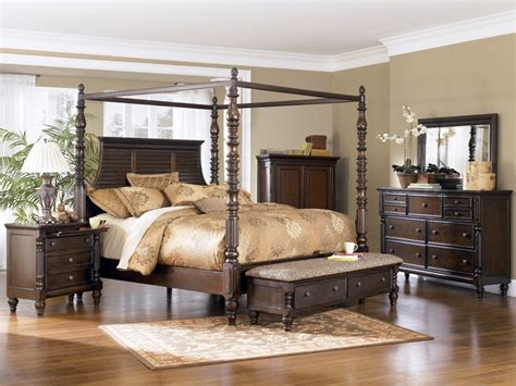 Canopy Bed Sets For Sale Key Town Poster Canopy Bedroom Set In Brown Sale Bedroom Furniture Reviews