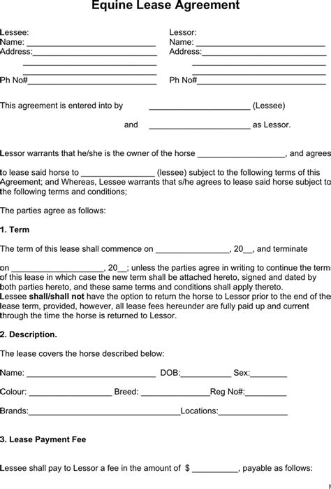 free printable horse lease agreement horse lease agreement download free premium templates