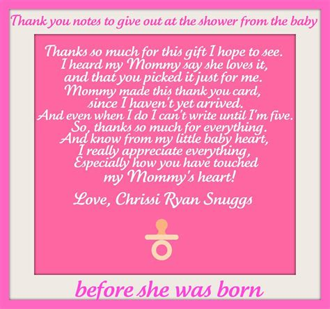 note from baby at baby shower thank you note from the baby to give out at the shower