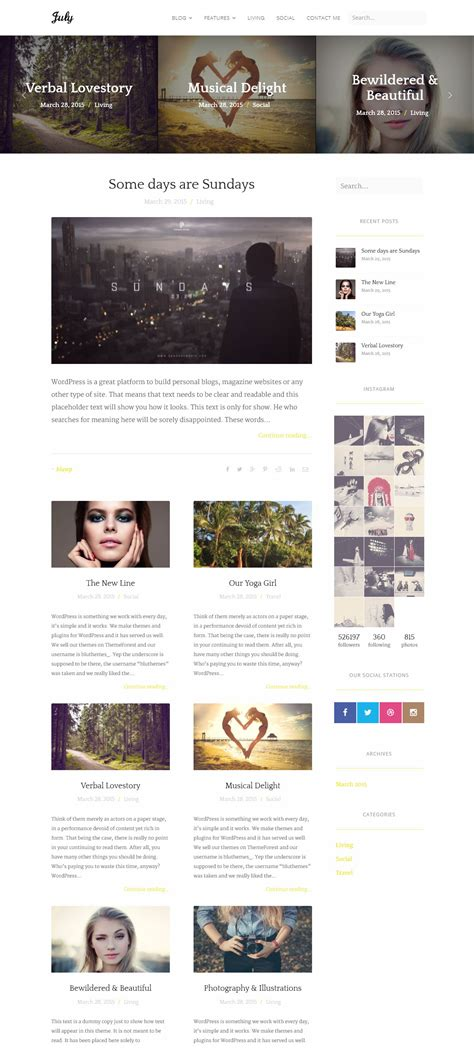 wordpress blog themes elegant july simple elegant wordpress blog theme by bluthemes