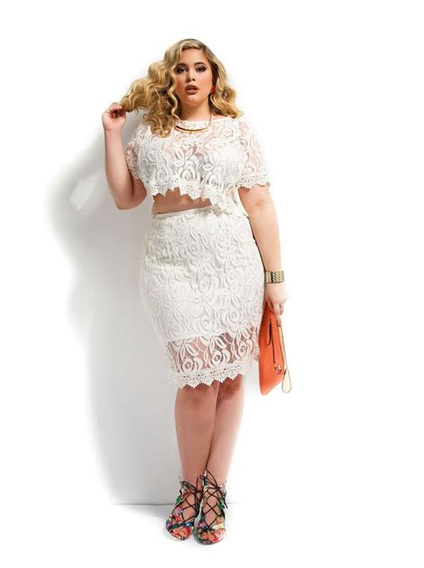 Gissel Blouse 3 quot gissel quot scallop lace crop top and skirt from monif c contemporary plus size clothing