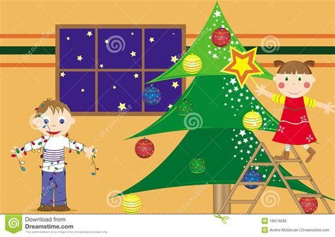 children preparing the christmas tree royalty free stock