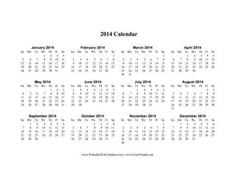 2014 one page calendar template printable 2014 calendar on one page horizontal