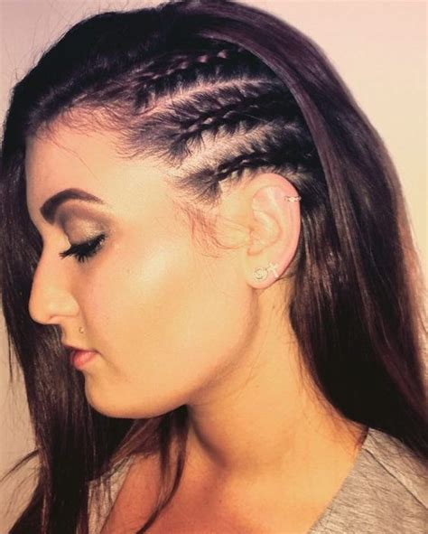 top of head braided back with sides and back shaved three half braided side twists vlechtjes pinterest